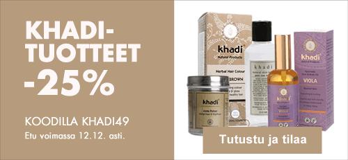 Khadi-kosmetiikka -25% 12.12. asti koodilla KHADI49