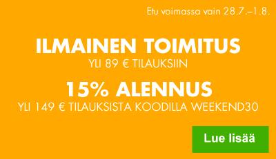 Nyt -15 % alennus yli 149 euron tilauksiin ja ilmainen kotiinkuljetus!