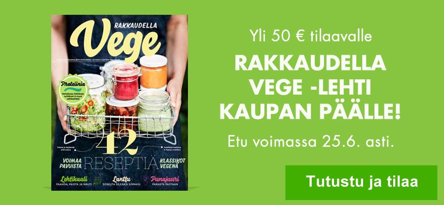 Yli 50 eurolla tilaavalle syksyllä ilmestyvä Rakkaudella Vege -lehti kaupan päälle!