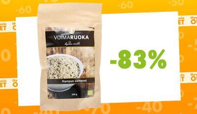 Voimaruoka Luomu Hampunsiemen nyt alkaen 2 euroa /pss! Säästä jopa 83%!