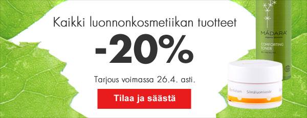 Viikonloppuna Helsingin Kaapelitehtaalla järjestettävien Luonnonkaunis-messujen kunniaksi tarjoamme kaikki luonnonkosmetiikan tuotteet 20 % alennuksella 26.4. asti! Saat edun automaattisesti ostoskorissa.
