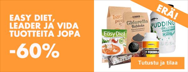 Erä suosittuja Easy Diet, Leader ja Vida-tuotteita nyt jopa -60 %!