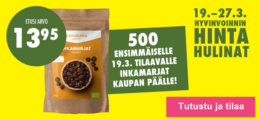Hintahulinat alkavat 19.3. 500 ensimmäiselle tilaajalle Voimaruoka Inkamarjat kaupan päälle!
