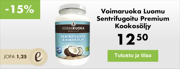 Voimaruoka Luomu Sentrifugoitu Premium Kookosöljy on ainutlaatuisen puhdas kookosöljy Thaimaasta. Herkullinen ja raikas maku!