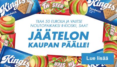 Tilaa 50 eurolla ja valitse noutopaikaksi R-kioski - saat kaupan päälle jäätelön!