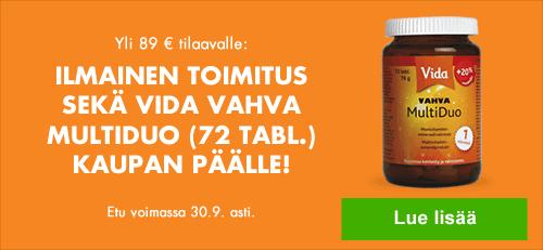 Tilatessasi tuotteita vähintään 89 euron arvosta tarjoamme ilmaisen toimituksen sekä Vida Vahva MultiDuo-tuotteen kaupan päälle. Etujen yhteisarvo 14,75 euroa.