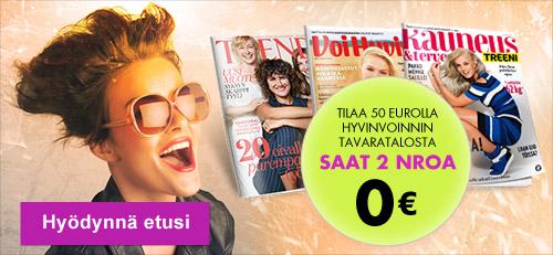 Tilaa tällä viikolla 50 eurolla tuotteita ja saat kaksi valitsemaasi lehtinumeroa kaupan päälle!