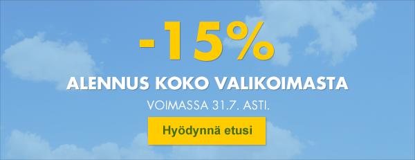 Koko valikoima nyt -15%!