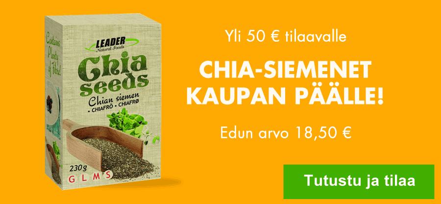 Nyt yli 50 eurolla tilaavalle Chia-siemenet kaupan päälle!
