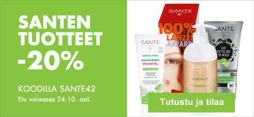 Kaikki Sante-tuotteet 24.10. asti -20% kampanjakoodilla SANTE42