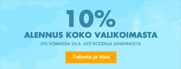 Nyt 10% alennus kaikista kaupan tuotteista, myös Hulina-tuotteista koodilla JUHANNUS16. Etu voimassa 26.6. asti!