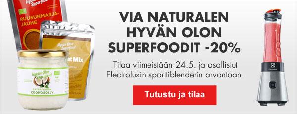 Hyvän Olon superfoodit tämän viikon ajan -20% alennuksessa! Tilaa ja voita sporttiblenderi!