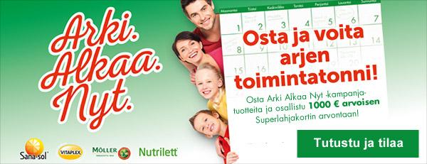 Arki alkaa nyt! Osta Sana-sol-, Möller-, Nutrilett- ja Vitaplex-tuotteita ja katso kuinka voit voittaa arjen toimintatonnin!