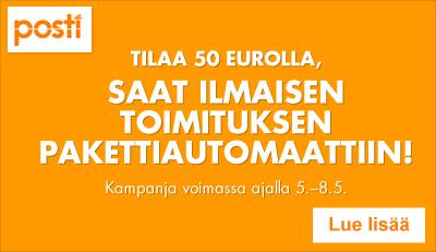 Tilaa 50 eurolla - saat ilmaisen toimituksen pakettiautomaattiin.