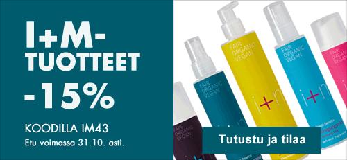 Kaikki i+m Naturkosmetik -tuotteet 31.10. asti -15% kampanjakoodilla IM43