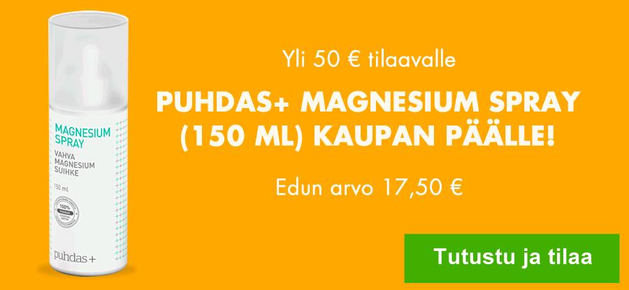 Tilatessasi nyt 50 eurolla saat Puhdas+ Magnesiumsuihkeen kaupan päälle!